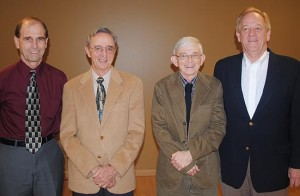 Cutline: Retiring Tusculum College professors (from left) Ron Conley, associate professor of mathematics; Dr. Bob Davis, professor of biology, Dan Barnett, associate professor of chemistry; and Dr. Dale Gibson, professor of physical education, were recognized at a reception in April. Not pictured is Lynn Reeves, assistant professor of economics.
