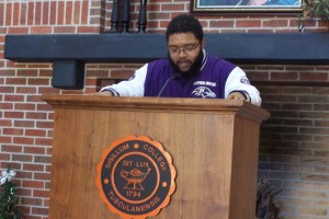 Alexander Spivery, a creative writing major who graduated from Tusculum College in December, was one of 70 participants in the national African-American Read-In held February 15.